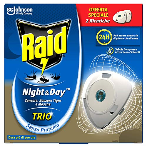 Raid Night & Day Trio Antizanzare con Sabbia Compressa 2 Ricariche