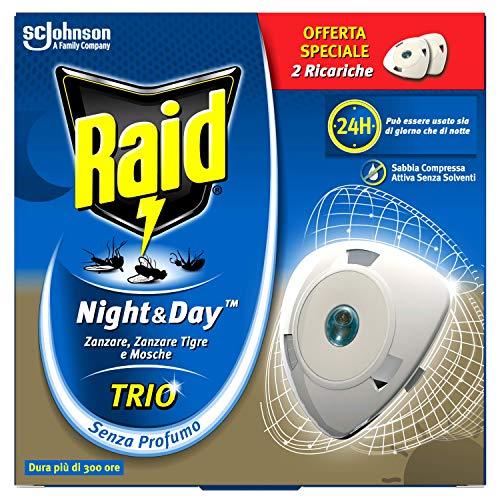 Raid Night & Day Trio Antizanzare con Sabbia Compressa, Confezione da 2 Pezzi