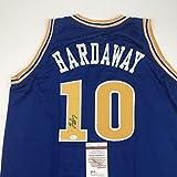 Autographed/Signed Tim Hardaway Golden State Blue Basketball Jersey JSA COA