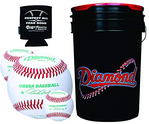 Diamond Sports DOL-1 USSSA - 30 Leather Baseballs with 6-Gallon Ball Bucket and Rods Insolated Can Sleeve
