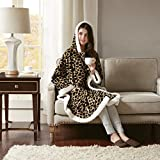 Comfort Spaces Glimmersoft Plush to Sherpa Pocket Hooded Angel Wrap Ultra Soft Wearable Poncho Blanket Throw, 58'x72', Leopard,CS58-0312