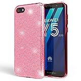 NALIA Handyhülle kompatibel mit Huawei Y5 2018, Glitzer Ultra-Slim Silikon-Hülle Back-Cover Schutzhülle, Glitter Sparkle Handytasche Bumper Dünnes Bling Strass Smartphone Etui, Farbe:Pink
