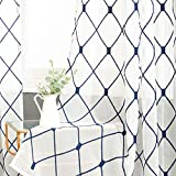 Top Finel White Sheer Curtains 84 Inches Long Navy Blue Embroidered Diamond Grommet
