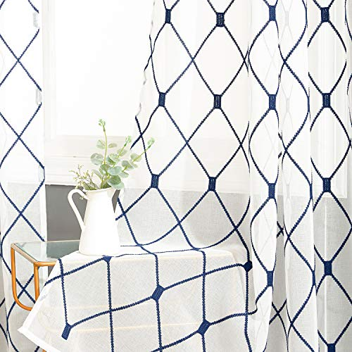 Top Finel White Sheer Curtains 84 Inches Long Navy Blue Embroidered Diamond Grommet Window Curtains for Living Room Bedroom, 2 Panels