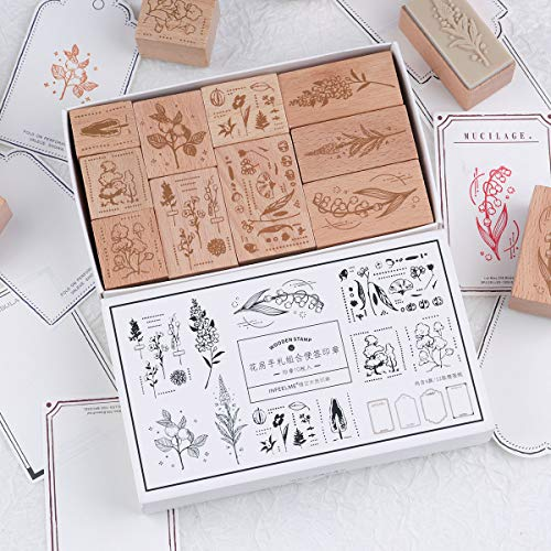 RisyPisy Wooden Rubber Stamp Set, 10pcs Decorative Mounted Rubber Stamps with Plant Flower Printed & 12 Sheets Border Style Card for Card Making, DIY Craft, Stationery Scrapbooking, Diary Decor