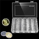 100pcs 30mm Ronda moneda Caso plástico caja de colección de monedas moneda pantalla funda organizador contenedor