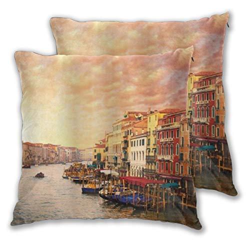 DECISAIYA Fundas de Cojines,Ciudad de Venecia Italia con góndolas y Picos de casa Antigua,Fundas de Almohada Decorativas cuadradas para sofá Dormitorio hogar Hotel 65x65cm