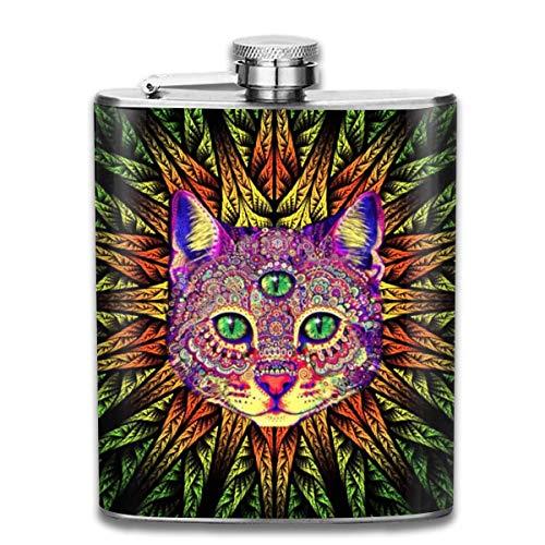 Edelstahl Flachmann,Colorful Cat Eyes Leaves Flower Fashion Portable Stainless Steel Hip Flask Whiskey Bottle for Men and Women 7 Oz