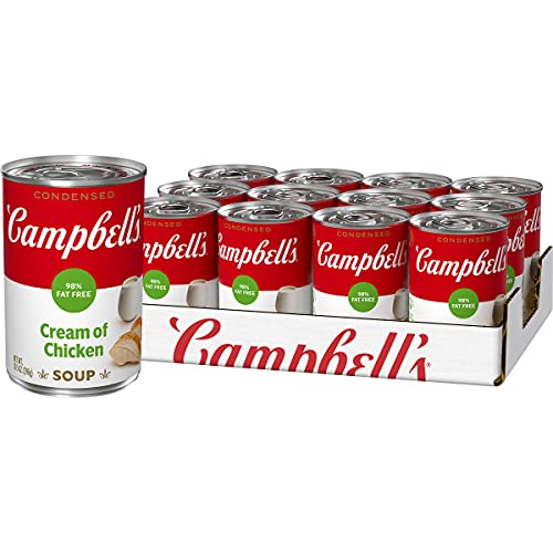 Campbell'sCondensed 98% Fat Free Cream of Chicken Soup, 10.5 oz. Can (Pack of 12) (Packaging May Vary)