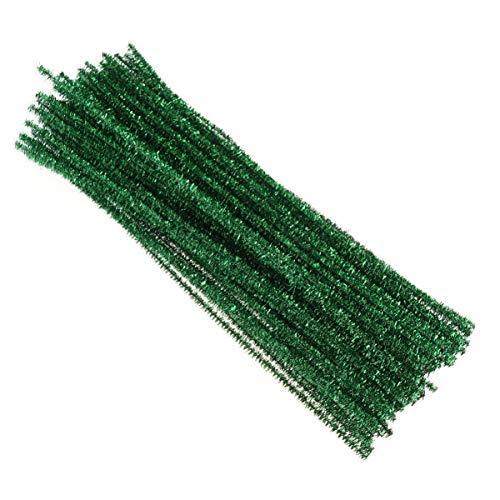 toyvian 100pcs Limpiapipas chenilla alambre Niños Manualidades Limpiapipas de Navidad Brillante Decoración 30cm (verde)