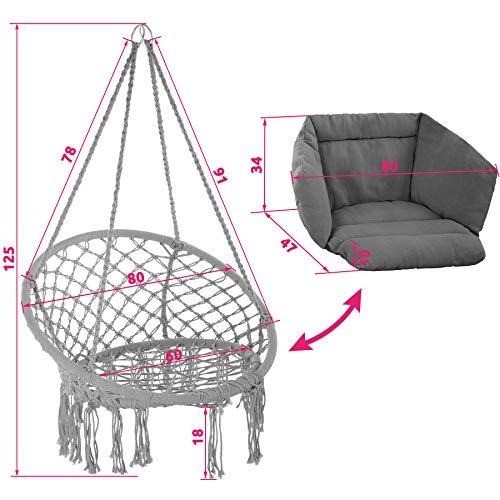 TecTake 800708 Hängesessel zum Aufhängen, Indoor und Outdoor, Ø Sitzfläche: ca. 60 cm, robuste Konstruktion, inkl. großem weichem Kissen - Diverse Farben - (Grau | Nr. 403204) - 8