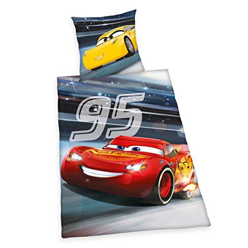 Herding DISNEY CARS 3 Bettwäsche-Set, Wendemotiv, Leuchtend im Dunkeln, Bettbezug 160 X 210 cm, Kopfkissenbezug 65 x 100 cm, Baumwolle/Renforcé