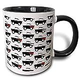 Lawenp mug_81042_4 'Funny toon 57 classic car pattern, variazioni nere su sfondo bianco' Tazza nera bicolore, 11 once, multicolore