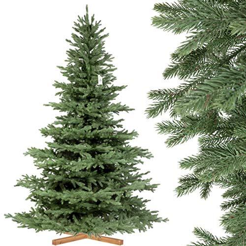 FairyTrees künstlicher Weihnachtsbaum ALPENTANNE Premium, Material Mix aus Spritzguss & PVC, Ständer aus Holz, 220cm, FT17-220