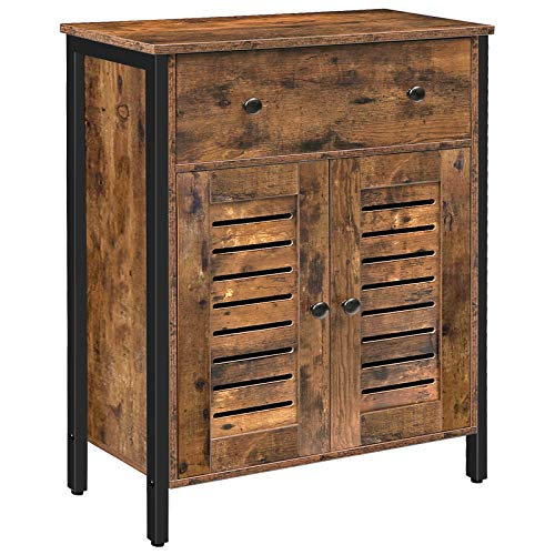 HOOBRO Cupboard, Storage Cabinet with Drawers and Height-Adjustable Shelves, Sideboard, Floor Cabinet, Double Unique Louver Doors, Suitable for Living Room, Hallway, Kitchen, Rustic Brown BF25CW01
