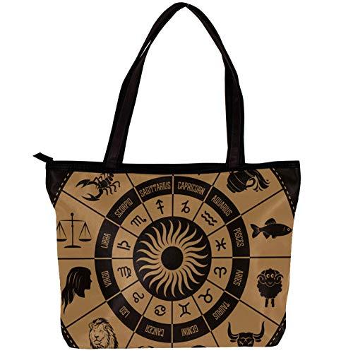 Vockgeng Damen Soft Cotton Tote Handtasche Erdiges Plattenspieler-Muster Umhängetasche, einzigartiges bedrucktes Design Handtasche mit großer Kapazität 30x10.5x39cm