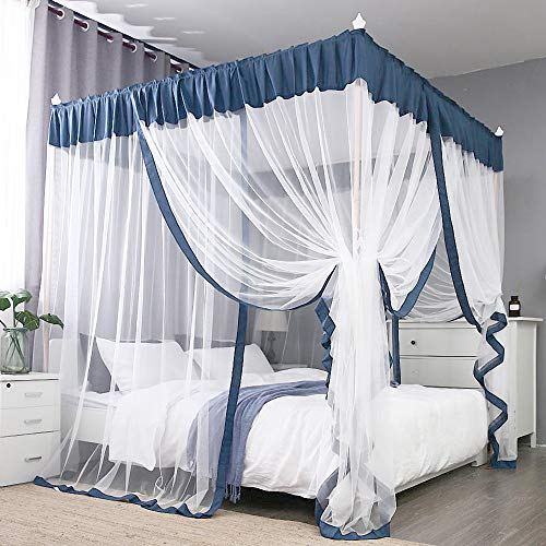 JQWUPUP Elegant Bed Canopy Curtains, Color Stitching Ruffle Princess 4 Corner Post Mosquito Net, Bed Canopy for Girls Adult Kids Toddlers Crib, Bedding Décor (Queen, Blue-Grey)