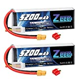 Zeee 3S 11.1V 5200mAh 50C RC LiPo Battery Pack with Deans and XT60 Plug for RC Quadcopter RC Hobby RC Helicopter Airplane UAV Drone FPV (2 Pack)