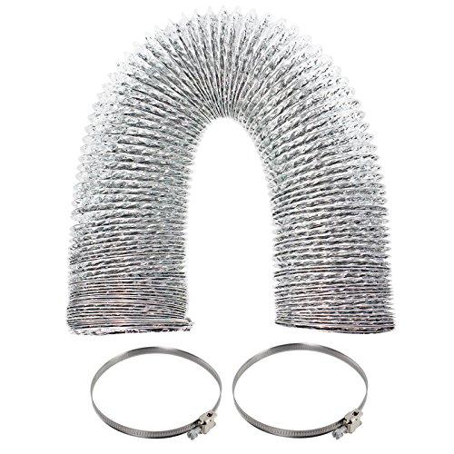 Spares2go Universal 3m aluminio Flexible manguera de ventilación para secadora tubo de escape & Jubilee clips (4