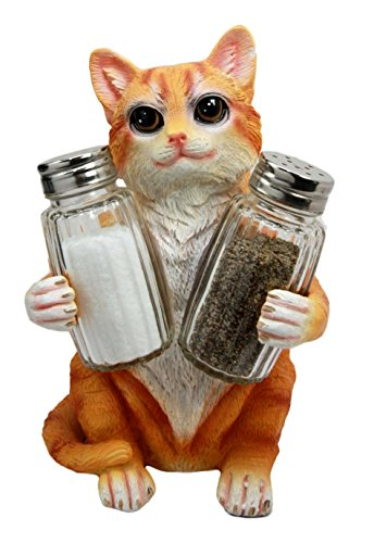 """Ebros Orange Tabby Furry Feline Kitty Cat Salt Pepper Shakers Holder Figurine 8.25""""H Crazy For Cats Kitten Decor Of Garfield Color Cats Animal Decor Statue For Kitchen And Dining Entertainment"""