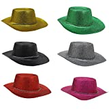 LARGE RED COLOURED GLITTER COWBOY HATS FANCY DRESS X6 HATS