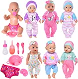 iBayda 6 Sets Doll Clothes+2 Feeding Bottles+1 Plate+1 Diapers+2 Spoons+1 Nipple Accessories for 43cm New Born Baby Dolls