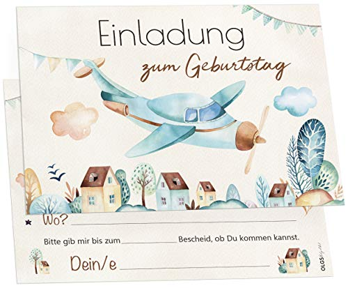 12 Einladungskarten Pilot Flugzeug Kindergeburtstag Kinder Party Geburtstag-Einladungen zum ausfüllen (Jungen)