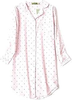 4fa4e49fd9226 ENJOYNIGHT Women s Sleep Shirt Flannel Print Pajama Top Button-Front  Nightshirt Sleepwear
