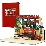 Reisegutschein nach Amsterdam  3D Pop Up Karte als Gutschein, Einladung für einen Urlaub, eine Reise nach Holland   Schöne Geschenkidee und Geschenk, A144AMZ