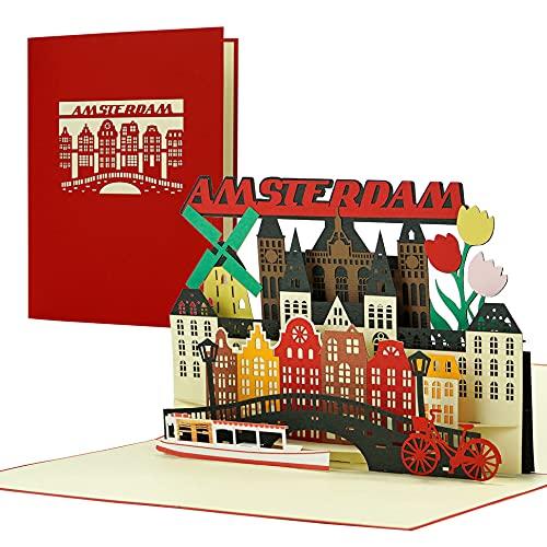 Tarjeta de viaje a Amsterdam, tarjeta 3D desplegable como ve, invitación para unas vacaciones, un viaje a Holanda | bonita idea de regalo y regalo A144AMZ