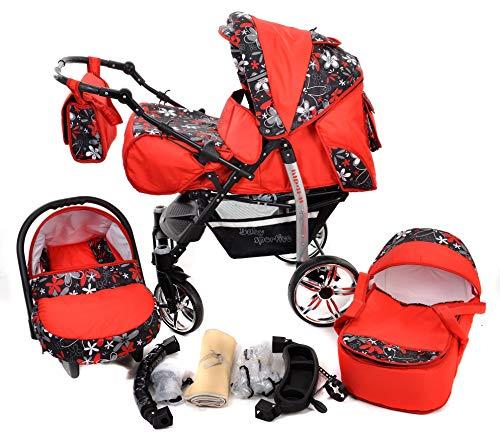 Sportive X2 - Sistema de viaje 3 en 1, silla de paseo, carrito con capazo y silla de coche, RUEDAS GIRATORIAS y accesorios (Sistema de viaje 3 en 1, rojo, flores coloridas)