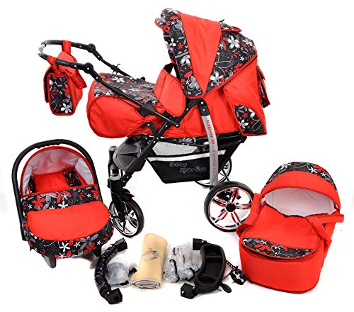 Sportive X2, 3-in-1 Travel System incl. Baby Pram with Swivel Wheels, Car Seat, Pushchair & Accessories (3-in-1 Travel System, Red & Small Flowers)