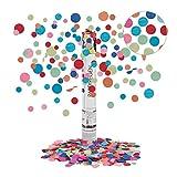 Relaxdays Sparacoriandoli, Pioggia Alta 6-8 m, per Carnevale,Compleanno & Matrimonio, Confetti di Carta, 40 cm, Colorati, PVC, 40 x 5 x 5 cm
