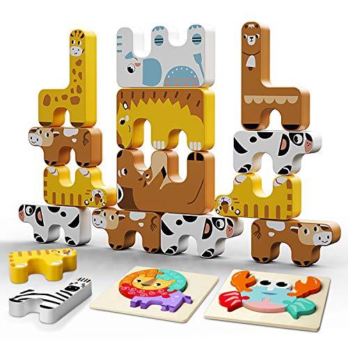 Juego de Bloque de Animales, INPHER Bloques de Construcción para Niños, Puzzles de Madera Educativos para Bebé, Dibujo de Animal con Placa, Año Nuevo, Cumpleaños de Infantiles
