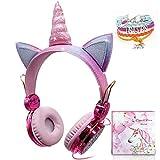 Kids Unicorn Headphones, Girls Over-Ear-Kopfhörer mit Kabel Cute Sparkly Headphone 85dB Limitiertes Volumen Rainbow Unicorn, verstellbare Headsets mit Mikrofon für Kindle/Ipad (Verkabelt)