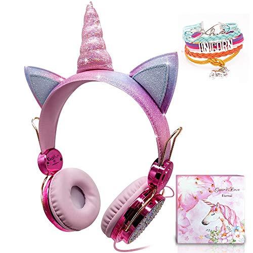 Kids Unicorn Headphones, Girls Over-Ear-Kopfhörer mit Kabel Cute Sparkly Headphone 85dB Limitiertes...