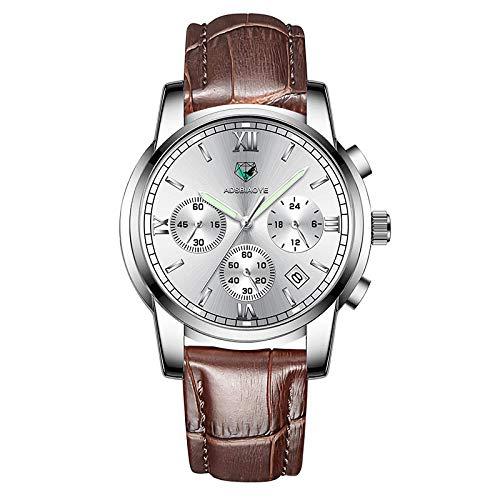 Reloj de Pulsera de Cuarzo para Hombre Reloj de Pulsera de Cuarzo analógico Resistente al Agua-C