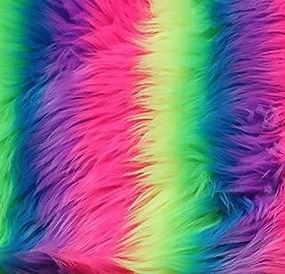 FabricLA Shaggy Faux Fake Fur Fabric - Half Yard (Neon Rainbow)