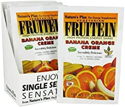 NaturesPlus Fruitein Banana Orange Crème High Protein Energy Shake (8 Pack) - 1.2 oz, Vegetarian Powder - Vitamins, Minera...