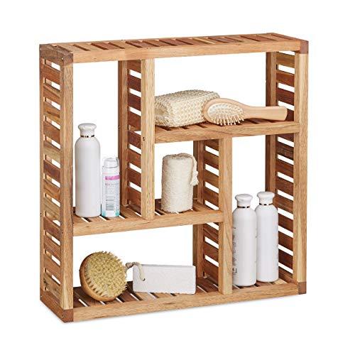Relaxdays Estantería de Pared, Cinco Compartimentos, Mueble de baño, 50 x...