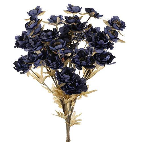 HUAESIN 4 Pcs Künstliche Blumen Vintage Pfingstrosen Kunstblumen Unechte Seide Blumen Deko Blumenstrauß für Hochzeit Party Fest Zuhause Büro Vase Tischdeko Dekoration Dunkelblau