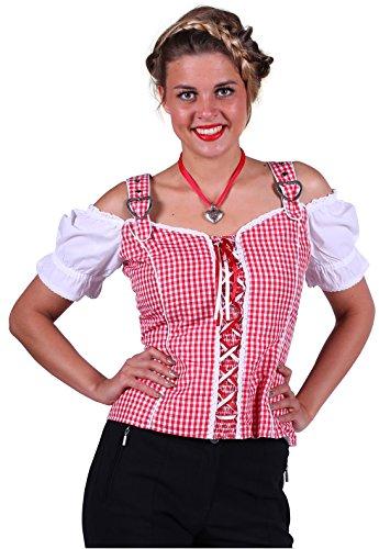 Tiroler-Bluse in rot/weiß | Oktoberfest-Bluse | Trachten-Bluse für Damen (XXL)