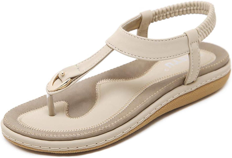Women's Sandals, Women's shoes Buckle Flat Sandals Open Toe Non-Slip Breathable Lining Women's Sandals,Apricot,40