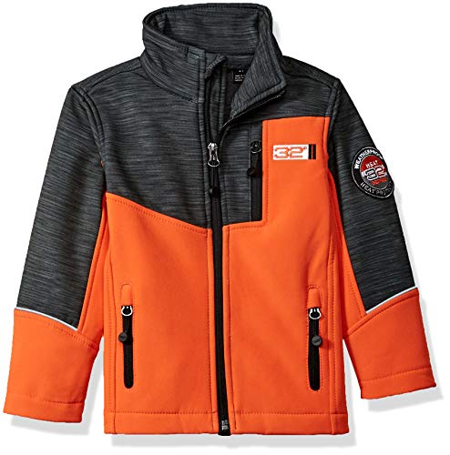 32 DEGREES Weatherproof Boys' Toddler Outerwear Jacket (More Styles Available), Zip Pockets Orange, 3T