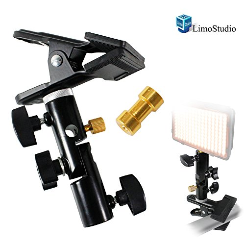 LimoStudio Clamp Clip Holder Light Stand Mount Bracket with Umbrella Reflector Holder & Female Screw Adapter Thread Brass Photography Studio, AGG1809