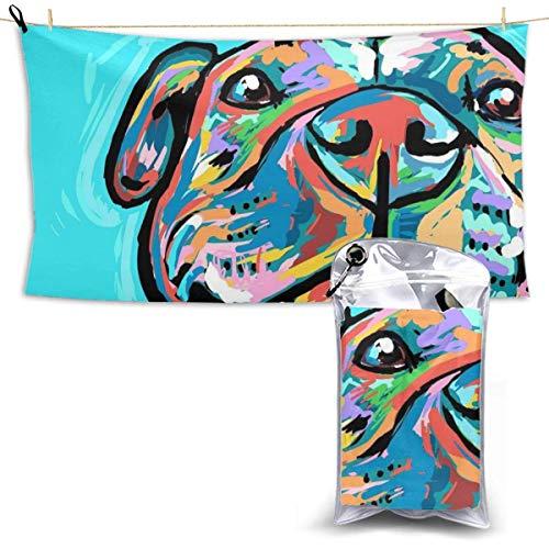 XCNGG Toallas de baño de secado rápido Toallas de baño para el hogar Toallas Quick Dry Bath Towel, Absorbent Soft Beach Towels, Happy Dog Painting for Camping, Backpacking, Gym, Travelling, Swimming,Y