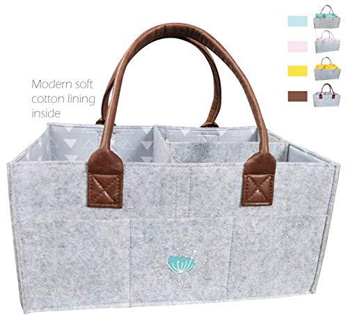 Baby Diaper Caddy Organizer: Large Organizer Tote Bag for Boys Girls Infant - Baby Bag Nursery Essential, Collapsible Newborn Caddie Car Travel, Baby Registry(Urban)