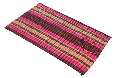 Rollbare Thaimatte Matratze, ca. 200 x 100 cm, Thaikissen Matte, pink-rot, mit Füllung aus Kapok