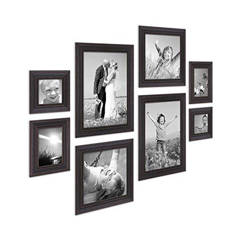 Photolini 8er-Set Bilderrahmen Dunkelbraun Landhaus-Stil Shabby-chic je 2 mal 10x10 10x15 20x20 und 20x30 cm inkl. Zubehör/Fotorahmen