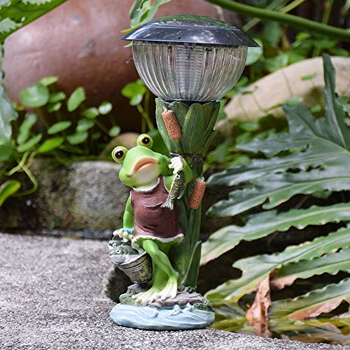 Garden Ornaments Simulation Frog Fishing Solar Powered Outdoor Lights Waterproof Resin Garden Statue for Yard Lawn Decoration Gift -16 * 16 * 35cm A